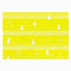 Yellow Xmas Large Glasses Cloth by Valentinaart