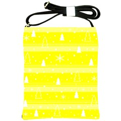 Yellow Xmas Shoulder Sling Bags by Valentinaart