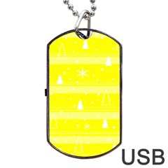 Yellow Xmas Dog Tag Usb Flash (one Side) by Valentinaart