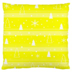 Yellow Xmas Large Cushion Case (one Side) by Valentinaart