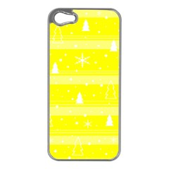 Yellow Xmas Apple Iphone 5 Case (silver) by Valentinaart
