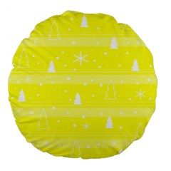 Yellow Xmas Large 18  Premium Flano Round Cushions by Valentinaart