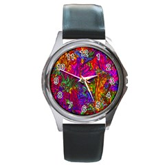 Hot Liquid Abstract B  Round Metal Watch by MoreColorsinLife
