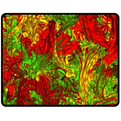 Hot Liquid Abstract C Double Sided Fleece Blanket (medium)  by MoreColorsinLife