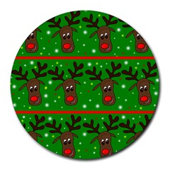 Reindeer Pattern Round Mousepads by Valentinaart