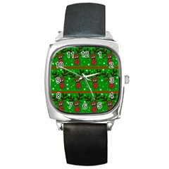 Reindeer Pattern Square Metal Watch by Valentinaart
