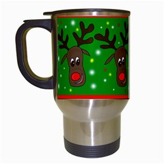 Reindeer Pattern Travel Mugs (white) by Valentinaart
