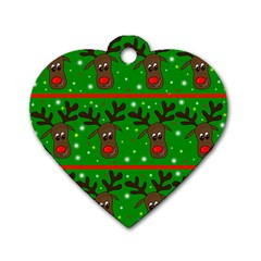Reindeer Pattern Dog Tag Heart (one Side)