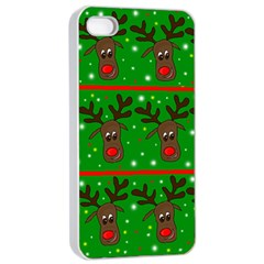 Reindeer Pattern Apple Iphone 4/4s Seamless Case (white) by Valentinaart