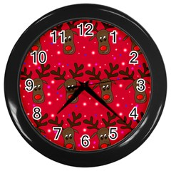 Reindeer Xmas Pattern Wall Clocks (black) by Valentinaart