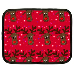 Reindeer Xmas Pattern Netbook Case (large) by Valentinaart