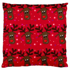 Reindeer Xmas Pattern Large Cushion Case (one Side) by Valentinaart