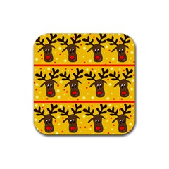 Christmas Reindeer Pattern Rubber Coaster (square)  by Valentinaart