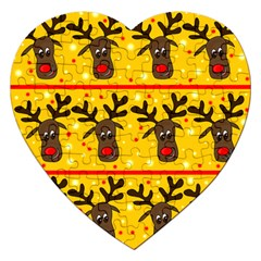 Christmas Reindeer Pattern Jigsaw Puzzle (heart) by Valentinaart