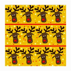 Christmas Reindeer Pattern Medium Glasses Cloth (2 Side) by Valentinaart