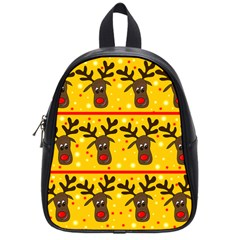 Christmas Reindeer Pattern School Bags (small)  by Valentinaart