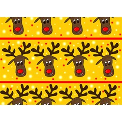 Christmas Reindeer Pattern Birthday Cake 3d Greeting Card (7x5) by Valentinaart