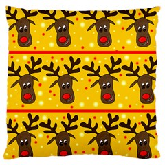 Christmas Reindeer Pattern Large Cushion Case (one Side) by Valentinaart