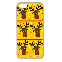 Christmas Reindeer Pattern Apple Seamless Iphone 5 Case (clear) by Valentinaart