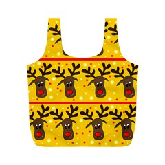 Christmas Reindeer Pattern Full Print Recycle Bags (m)  by Valentinaart