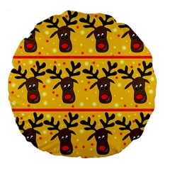 Christmas Reindeer Pattern Large 18  Premium Flano Round Cushions by Valentinaart