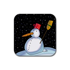 Lonely Snowman Rubber Coaster (square)  by Valentinaart