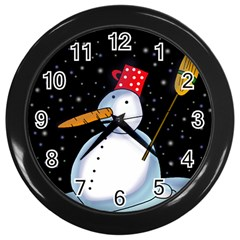 Lonely Snowman Wall Clocks (black) by Valentinaart