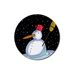 Lonely Snowman Rubber Coaster (round)  by Valentinaart