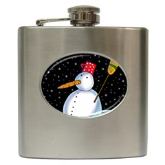 Lonely Snowman Hip Flask (6 Oz) by Valentinaart