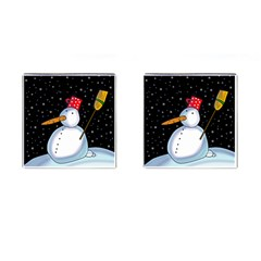 Lonely Snowman Cufflinks (square) by Valentinaart