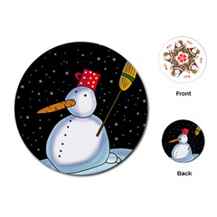 Lonely Snowman Playing Cards (round)  by Valentinaart