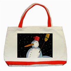 Lonely Snowman Classic Tote Bag (red) by Valentinaart