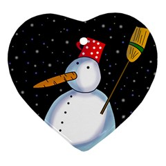 Lonely Snowman Heart Ornament (2 Sides) by Valentinaart