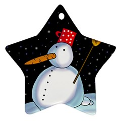 Lonely Snowman Star Ornament (two Sides)  by Valentinaart