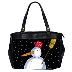 Lonely Snowman Office Handbags (2 Sides)  by Valentinaart