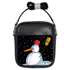 Lonely Snowman Girls Sling Bags by Valentinaart