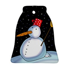 Lonely Snowman Bell Ornament (2 Sides) by Valentinaart