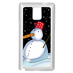 Lonely Snowman Samsung Galaxy Note 4 Case (white) by Valentinaart