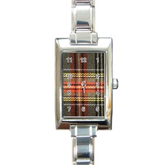 Fabric Texture Tartan Color  Rectangle Italian Charm Watch by AnjaniArt