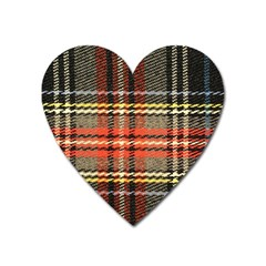 Fabric Texture Tartan Color  Heart Magnet by AnjaniArt