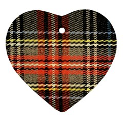 Fabric Texture Tartan Color  Heart Ornament (2 Sides) by AnjaniArt