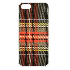 Fabric Texture Tartan Color  Apple Iphone 5 Seamless Case (white)