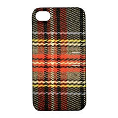 Fabric Texture Tartan Color  Apple Iphone 4/4s Hardshell Case With Stand by AnjaniArt
