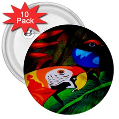Papgei Red Bird Animal World Towel 3  Buttons (10 Pack)