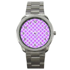 Pastel Pink Mod Circles Sport Metal Watch by BrightVibesDesign