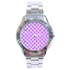 Pastel Pink Mod Circles Stainless Steel Analogue Watch by BrightVibesDesign