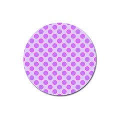 Pastel Pink Mod Circles Magnet 3  (round) by BrightVibesDesign