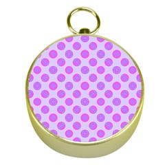 Pastel Pink Mod Circles Gold Compasses by BrightVibesDesign