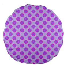 Pastel Pink Mod Circles Large 18  Premium Flano Round Cushions by BrightVibesDesign
