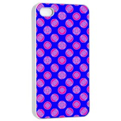 Bright Mod Pink Circles On Blue Apple Iphone 4/4s Seamless Case (white) by BrightVibesDesign